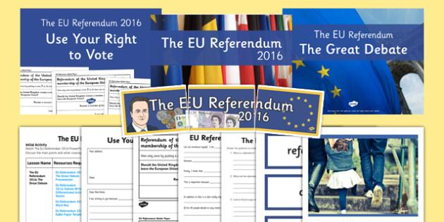 EU Referendum 2016 Resource Pack - eu referendum, 2016, resource pack, resource, pack
