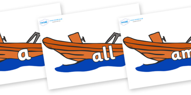 Foundation Stage 2 Keywords on Lifeboats - FS2, CLL, keywords, Communication language and literacy,  Display, Key words, high frequency words, foundation stage literacy, DfES Letters and Sounds, Letters and Sounds, spelling