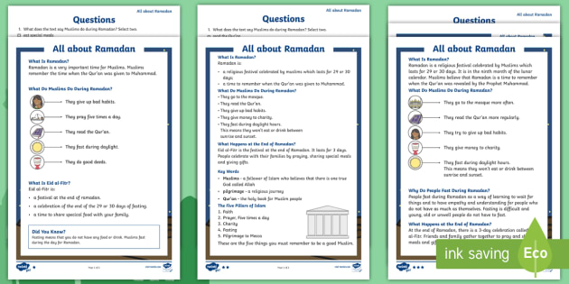 KS1 Ramadan Differentiated Comprehension Worksheets