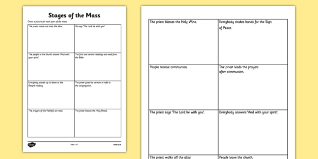 Stages of the Mass Activity Sheet - Mass, Roman Catholic, stages, reflection, drawing, sacraments, worksheet