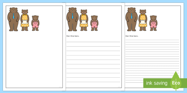 goldilocks sorry letter writing frames eyfs ks1 key stage