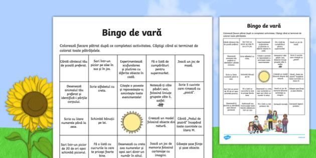 Bingo de vară - Joc - Bingo de vară, Joc - vacanta, timp liber, jocuri, activitati, activitate, materiale didactice, română, romana, material, material