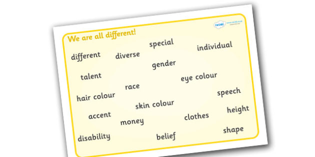 We Are All Different Word Mat - we are all different, word mat, bullying, diversity, discrimination, behaviour, words, acceptance, differences, pshe