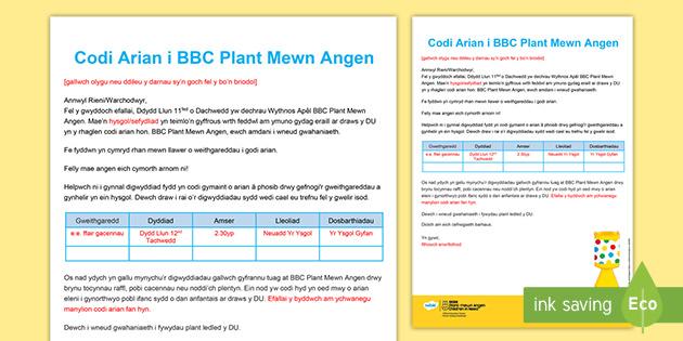 Llythyr i Fynd Adref BBC Plant Mewn Angen