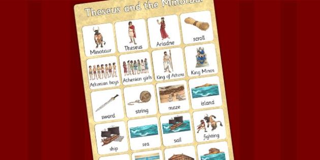 Theseus and the Minotaur Vocabulary Mat - story books, display