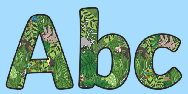 Rainforest Themed Display Lettering Pack - rainforest, display lettering, display, lettering, letter, pack
