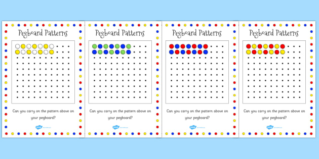 Pegboard Complete The Pattern Cards Activity Games