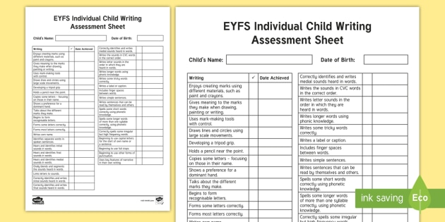 Individual Child Writing Assessment Sheet Kindergarten Resources Letter & math assessment sheet. individual child writing assessment