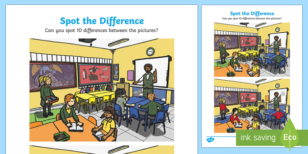 Classroom Spot the Difference Activity Sheet