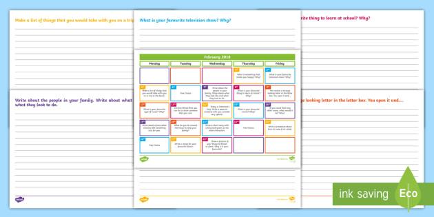 Calendar Ideas Twinkl : February writing prompts display calendar starter
