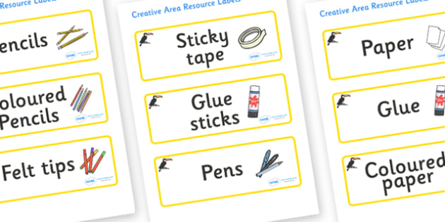 Toucan Themed Editable Creative Area Resource Labels - Themed creative resource labels, Label template, Resource Label, Name Labels, Editable Labels, Drawer Labels, KS1 Labels, Foundation Labels, Foundation Stage Labels