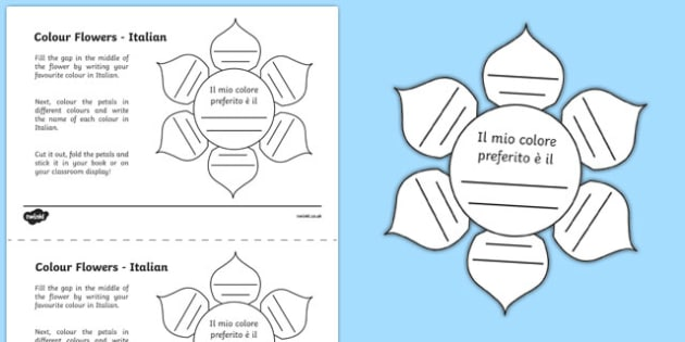 MFL Italian Colour Flowers Worksheet / Activity Sheet, worksheet