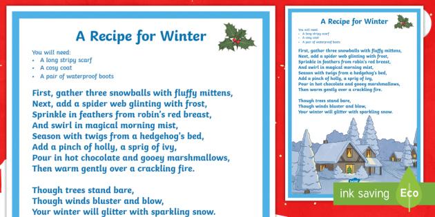 ks2 recipe for winter poem winter poem poetry recipe. Black Bedroom Furniture Sets. Home Design Ideas
