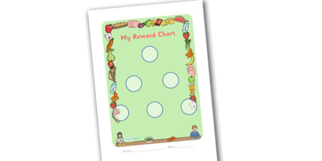 Lunchtime Themed Sticker Reward Chart 30mm - lunchtime, lunchtime reward chart, lunch reward chart, sticker reward chart, lunch sticker reward chart