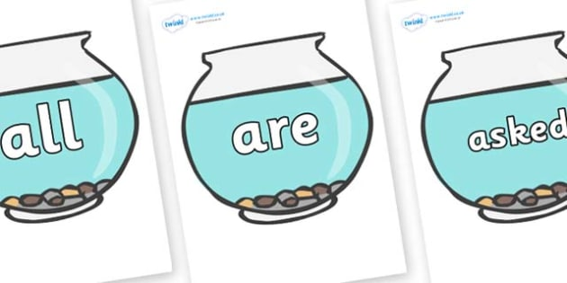Tricky Words on Fish Bowls - Tricky words, DfES Letters and Sounds, Letters and sounds, display, words