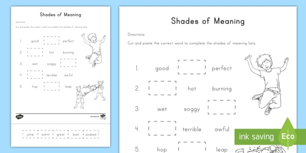 Shades of Meaning Worksheet / Worksheet - Shades of meaning ...