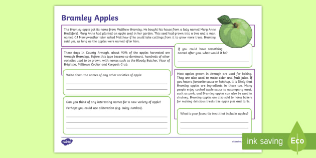 Armagh Bramley Apples Activity Sheet - STEM, Thematic Units, Resources, Northern Ireland, food, produce, farming, orchards, seedlings, tree