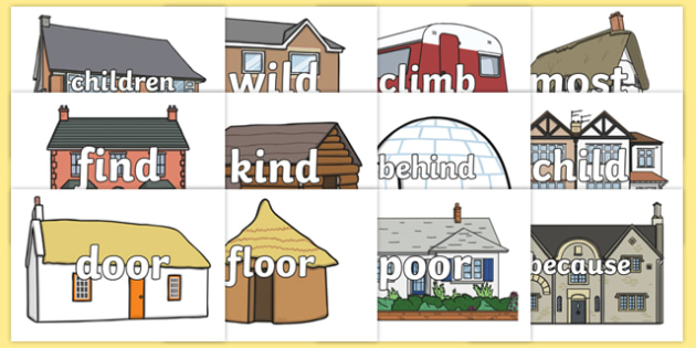 Year 2 Common Exception Words on Houses and Homes Display Cut-Outs