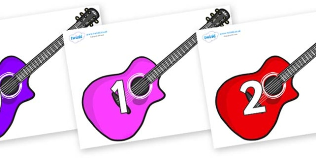 Numbers 0-50 on Guitars - 0-50, foundation stage numeracy, Number recognition, Number flashcards, counting, number frieze, Display numbers, number posters