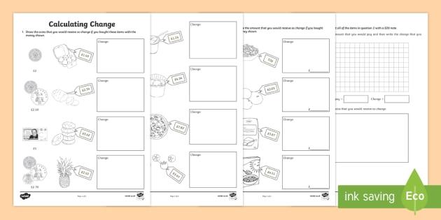 calculating change worksheet worksheet. Black Bedroom Furniture Sets. Home Design Ideas