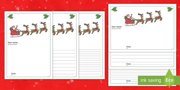 Letter to Santa Writing Template English/Portuguese - Letter to