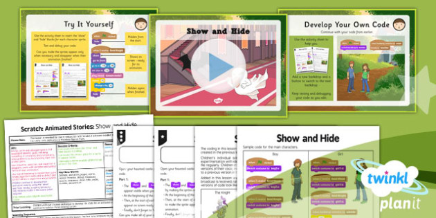 Computing: Scratch Animated Stories Unit: Show and Hide Year 6 Lesson Pack 3