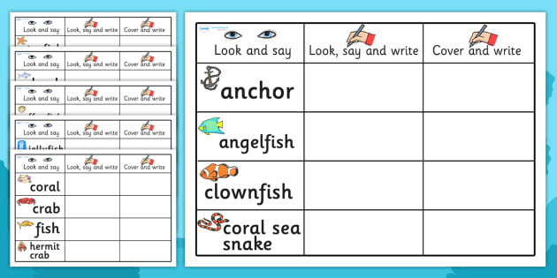 Under the Sea Topic Word Practise Worksheet - under the sea, under the sea words, under the sea look say and write sheets, under the sea look say and write