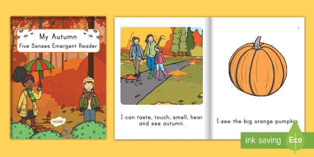 My Autumn Five Senses Emergent Reader -  - fall, autumn, emergent reader, fall emergent reader, autumn emergent reader, pre-k literacy, kinderg