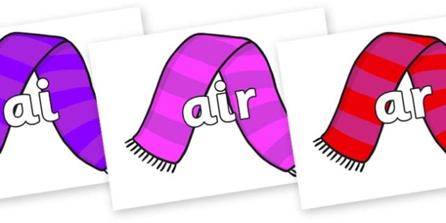 Phase 3 Phonemes on Scarves - Phonemes, phoneme, Phase 3, Phase three, Foundation, Literacy, Letters and Sounds, DfES, display