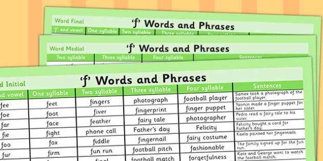 F Word List - f word, f word list, vocabulary, example, SLT, SALT