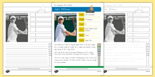 Australian Rio Olympian John Millman Handwriting Practice Activity Sheets-Australia, worksheet