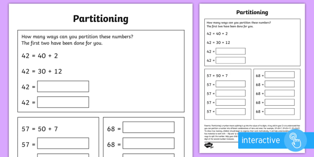 Partitioning in Different Ways Worksheet / Activity Sheet - year