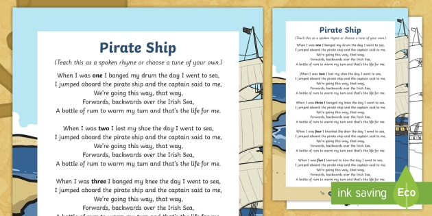 Pirate Ship Counting Song Sheet - Pirate, Song, Counting, Maths
