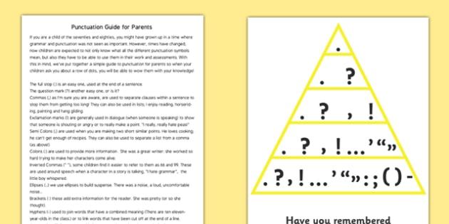 Punctuation Guide For Parents - punctuation guide for parents, for parents, guide, punctuation, explanation, grammar, grammatical, sheet, help, aid, parents, useful, explaining, comma, colon, speech marks