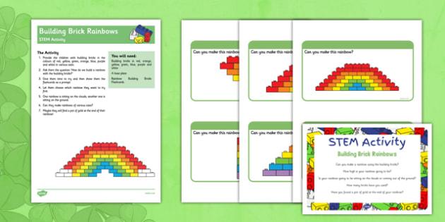 Building Bricks Rainbow STEM Activity - St Patricks Day, building brick, rainbow, stem, activity, colours