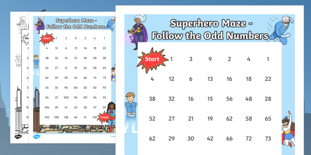 Superhero-Themed Follow the Odd Numbers Maze - superhero, counting, count, odd numbers, maze