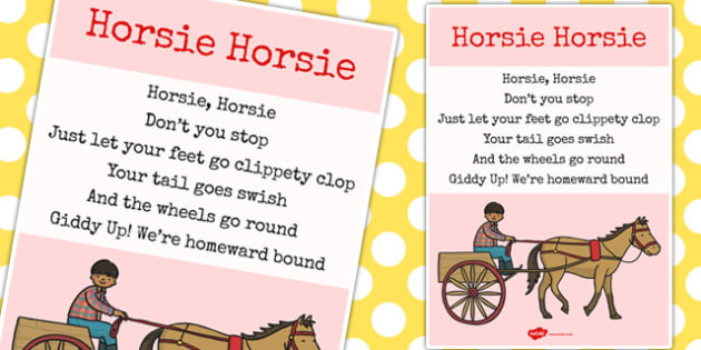 Horsie Horsie Song - horsie horsie, song, nursery rhyme, rhyme