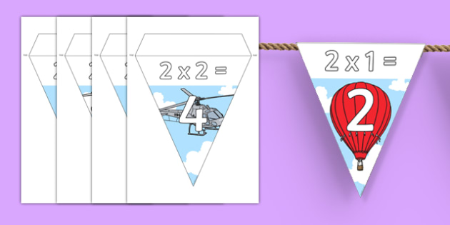 Transport Themed 2 Times Table Bunting - transport, 2 times table, bunting, display, times table