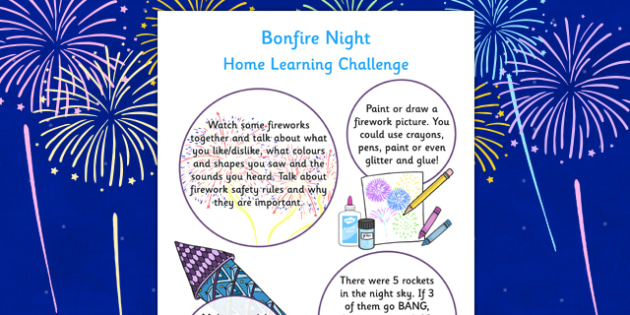 EYFS Bonfire Night Home Learning Challenges Nursery FS1 - eyfs, bonfire night