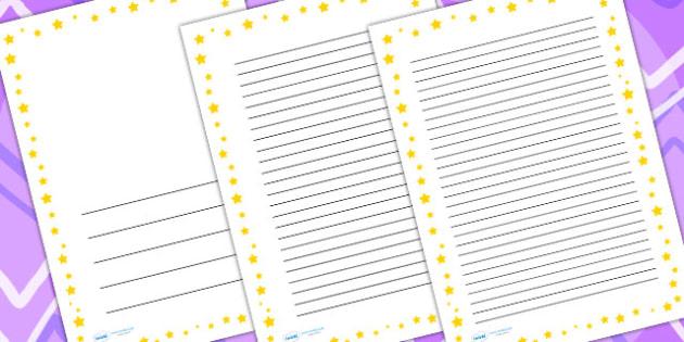 Yellow Star Border - writing templates, writing border, write