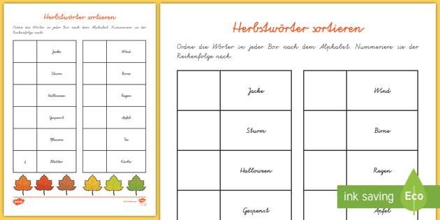 Herbstwörter Alphabet: Wörter zum alphabetischen Ordnen - DE