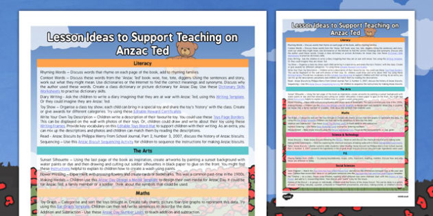Lesson Ideas to Support Teaching on Anzac Ted - Anzac Day, lesson plan, Ted