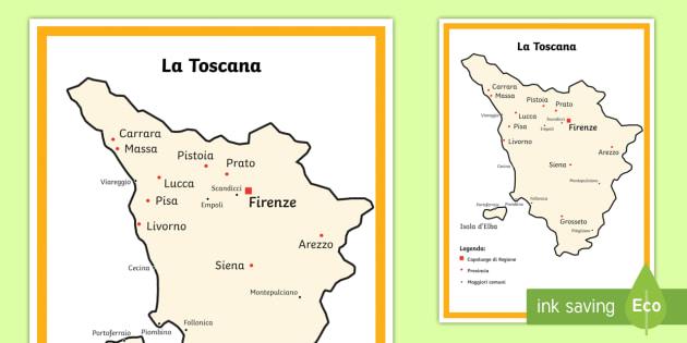 Immagini Cartina Toscana.Scuola Primaria La Toscana Cartina Politica Teacher Made