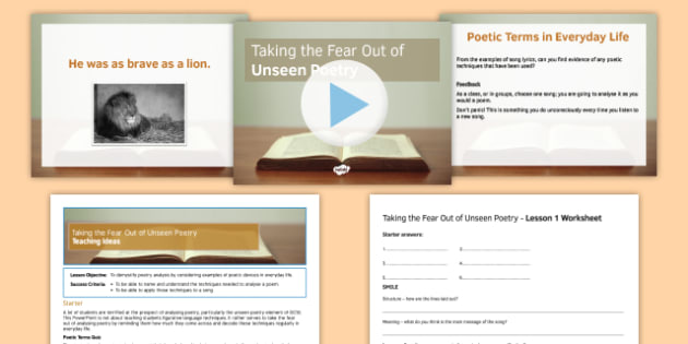 Taking the Fear Out of Unseen Poetry Pack L1 - taking, fear, out, unseen, poetry, pack