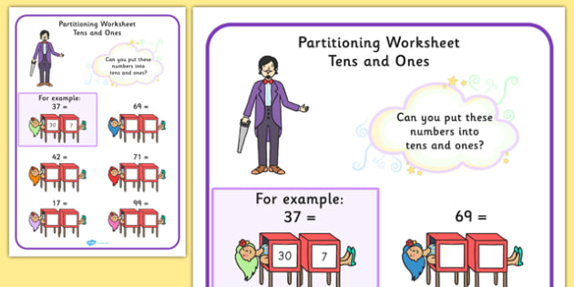 Maths Magician Partitioning Worksheet Tens and Ones - numeracy, Place value, split, partition, two digit number, tens, ones, units