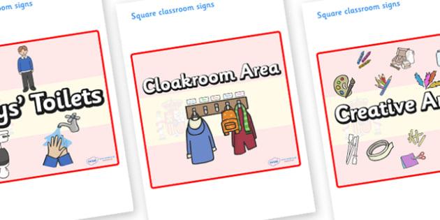 Spain Themed Editable Square Classroom Area Signs (Plain) - Themed Classroom Area Signs, KS1, Banner, Foundation Stage Area Signs, Classroom labels, Area labels, Area Signs, Classroom Areas, Poster, Display, Areas