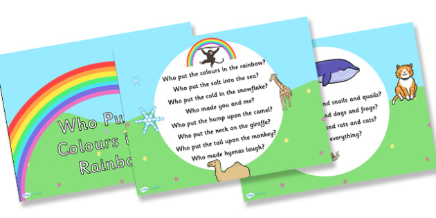 Who Put the Colours in the Rainbow Hymn Lyrics PowerPoint - who put the colours in the rainbow,  hymn, powerpoint, lyrics powerpoint, hymn powerpoint