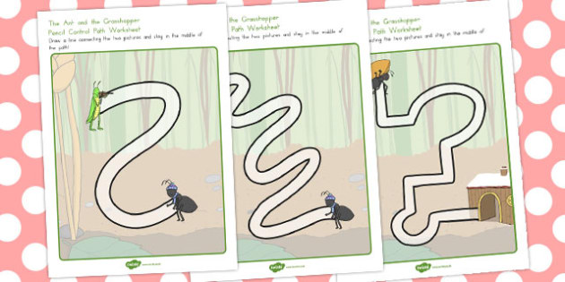 The Ant and the Grasshopper Pencil Control Path Worksheets - ants
