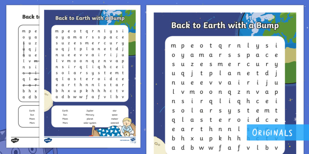 Back to Earth with a Bump Word Search - Find, Key Words, Story, Characters, Locate, space, planets, twinkl fiction