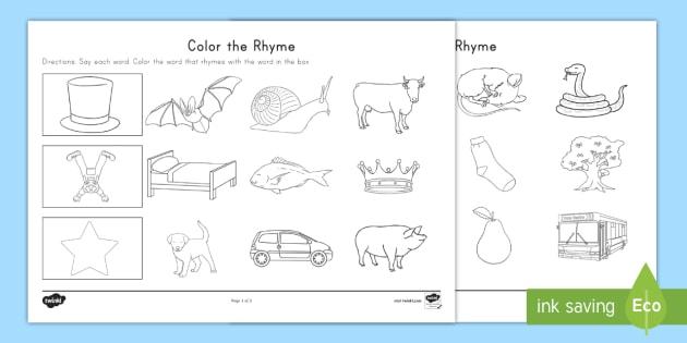 Color The Rhyme Worksheet Rhyming Words Word Families Phonological